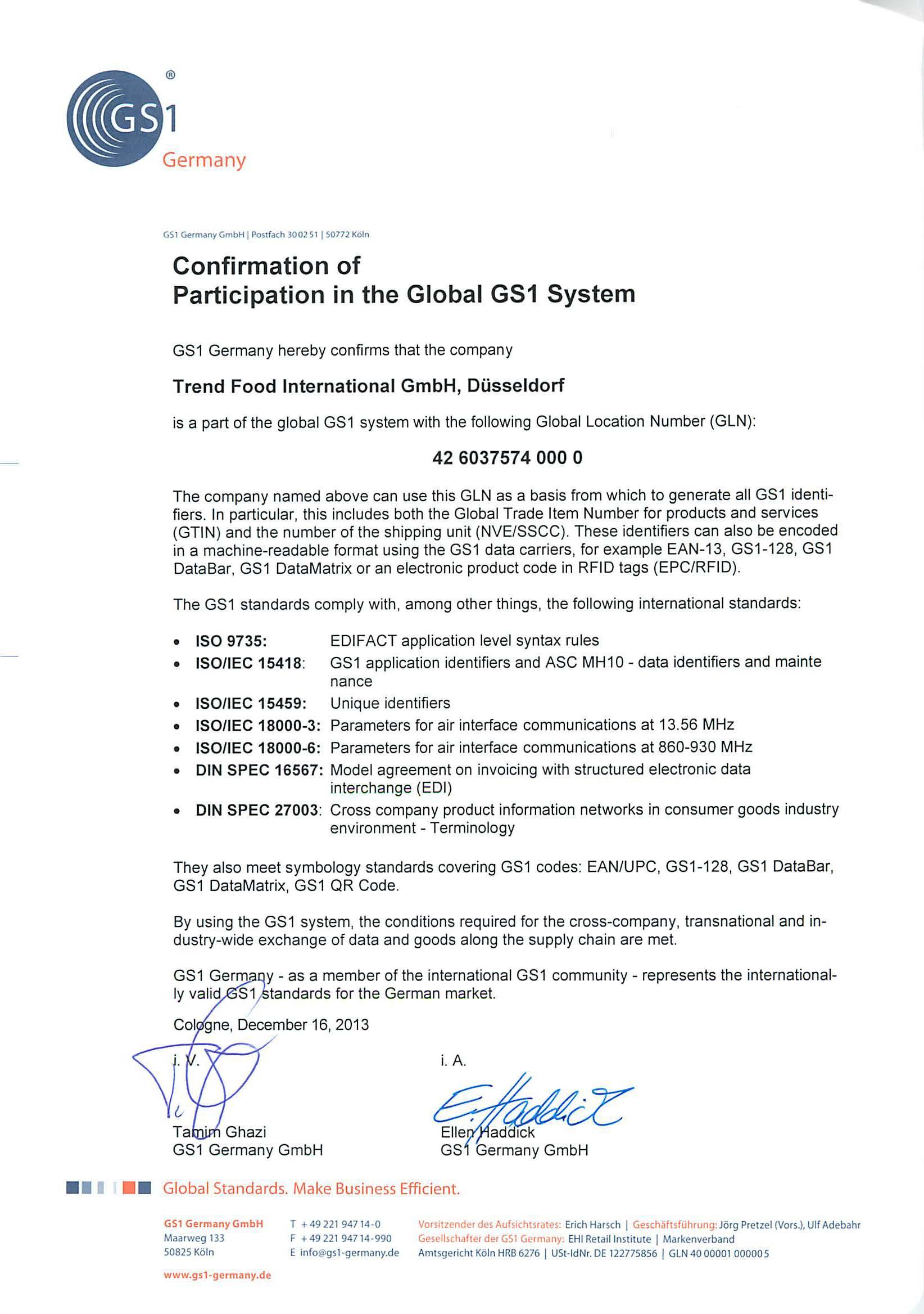 Certificates Trend Food International